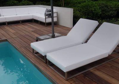 Loungebank und loungebett, RVS frame
